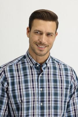 Erkek Giyim - ÇİMEN YEŞİLİ 3X Beden Uzun Kol Regular Fit Ekose Gömlek
