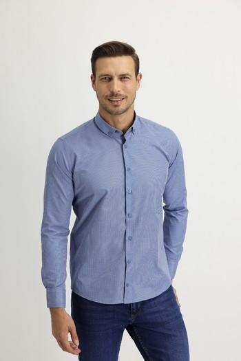 Erkek Giyim - Uzun Kol Slim Fit Kareli Gömlek