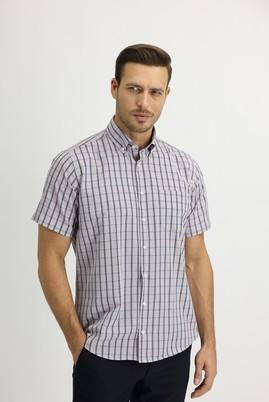 Erkek Giyim - AÇIK KIRMIZI M Beden Kısa Kol Regular Fit Ekose Gömlek