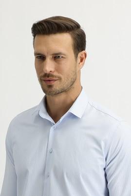 Erkek Giyim - AÇIK MAVİ L Beden Uzun Kol Slim Fit Çizgili Gömlek