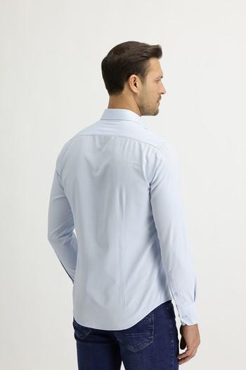 Erkek Giyim - Uzun Kol Slim Fit Çizgili Gömlek