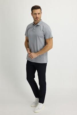 Erkek Giyim - ORTA LACİVERT 48 Beden Slim Fit Beli Lastikli İpli Desenli Spor Pantolon
