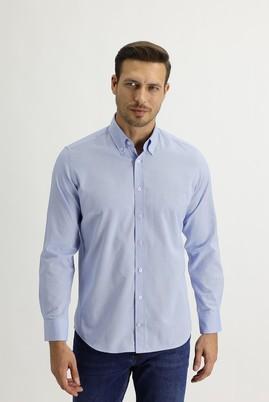 Erkek Giyim - GÖK MAVİSİ L Beden Uzun Kol Regular Fit Oxford Gömlek