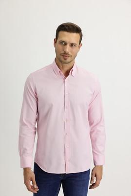 Erkek Giyim - PEMBE L Beden Uzun Kol Slim Fit Oxford Gömlek