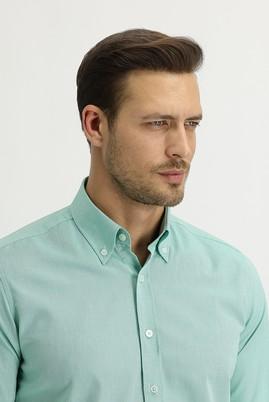 Erkek Giyim - FISTIK YEŞİLİ M Beden Uzun Kol Regular Fit Oxford Gömlek