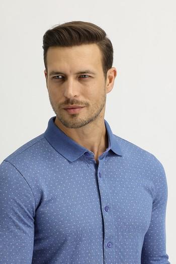 Erkek Giyim - Polo Yaka Slim Fit Düğmelİ Sweatshirt