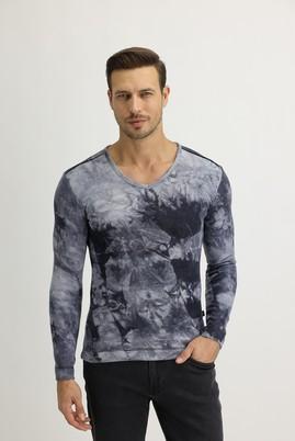 Erkek Giyim - Antrasit M Beden V Yaka Batik Desenli Sweatshirt