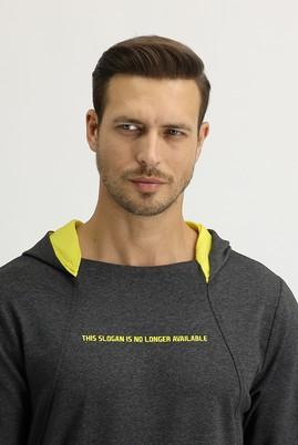 Erkek Giyim - AÇIK ANTRASİT M Beden Kapüşonlu Sweatshirt