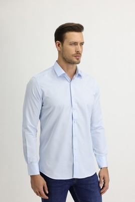 Erkek Giyim - UÇUK MAVİ L Beden Uzun Kol Slim Fit Desenli Gömlek