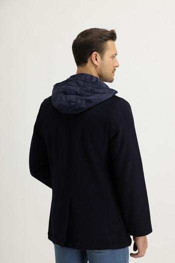 Erkek Giyim - Kapüşonlu Yünlü Kaban