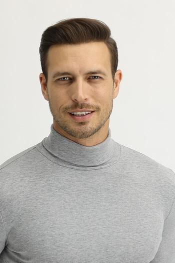 Erkek Giyim - Balıkçı Yaka Slim Fit Sweatshirt