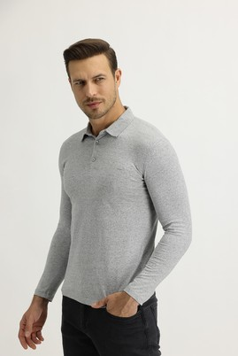 Erkek Giyim - Açık Gri L Beden Polo Yaka Slim Fit Sweatshirt