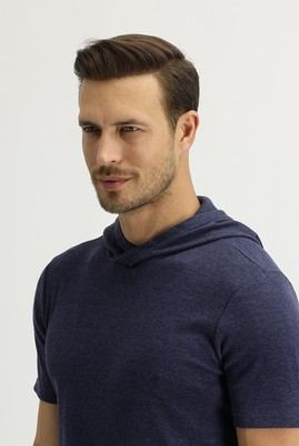 Erkek Giyim - LACİVERT XXL Beden Kapüşonlu Kısa Kol Slim Fit Sweatshirt