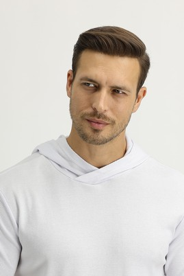 Erkek Giyim - BEYAZ M Beden Kapüşonlu Kısa Kol Slim Fit Sweatshirt