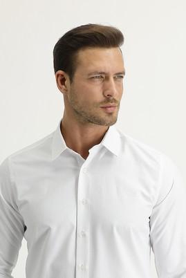 Erkek Giyim - BEYAZ XL Beden Uzun Kol Slim Fit Desenli Gömlek