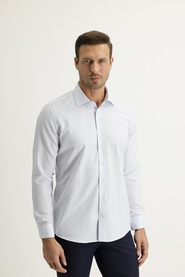 Erkek Giyim - UÇUK MAVİ S Beden Uzun Kol Slim Fit Desenli Gömlek