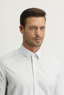 Erkek Giyim - SİYAH L Beden Uzun Kol Slim Fit Desenli Gömlek
