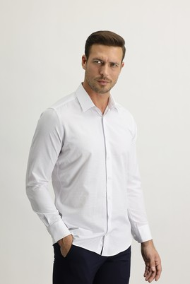 Erkek Giyim - BEYAZ XS Beden Uzun Kol Slim Fit Desenli Gömlek