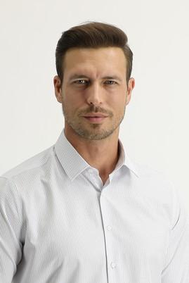 Erkek Giyim - KOYU MAVİ M Beden Uzun Kol Slim Fit Desenli Gömlek