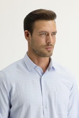 Erkek Giyim - GÖK MAVİSİ XL Beden Uzun Kol Regular Fit Desenli Gömlek