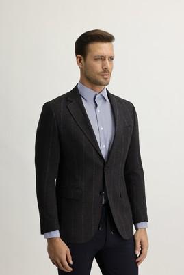 Erkek Giyim - KOYU KAHVE 50 Beden Regular Fit Ekose Ceket