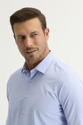 Erkek Giyim - GÖK MAVİSİ L Beden Uzun Kol Slim Fit Desenli Gömlek
