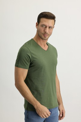 Erkek Giyim - ASKER HAKİ 3X Beden V Yaka Slim Fit Tişört