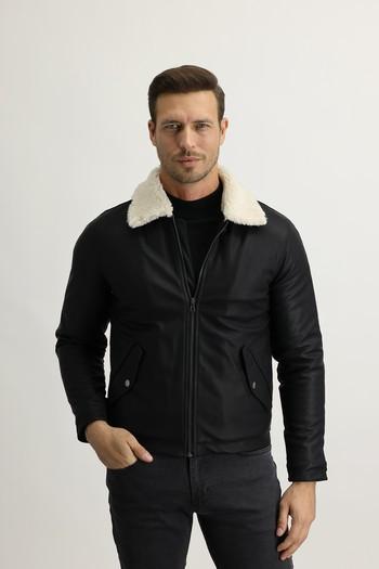 Erkek Giyim - Kürk Yaka Spor Mont