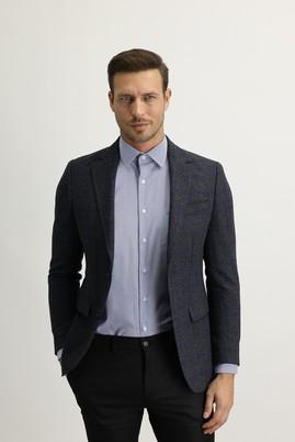 Erkek Giyim - Füme Gri 48 Beden Regular Fit Ekose Ceket