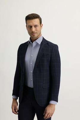 Erkek Giyim - Lacivert 52 Beden Regular Fit Ekose Ceket