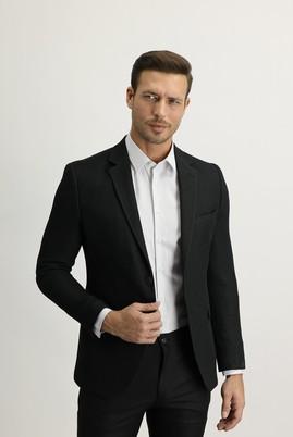 Erkek Giyim - SİYAH 50 Beden Slim Fit Desenli Ceket