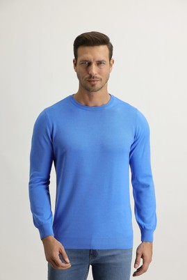 Erkek Giyim - Mavi L Beden Bisiklet Yaka Regular Fit Triko Kazak