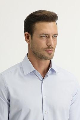 Erkek Giyim - AÇIK MAVİ S Beden Uzun Kol Slim Fit Desenli Gömlek