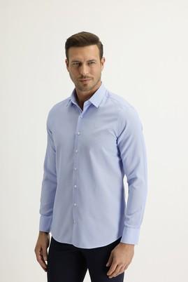 Erkek Giyim - UÇUK MAVİ M Beden Uzun Kol Slim Fit Desenli Gömlek