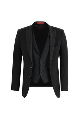 Erkek Giyim - SİYAH 54 Beden Slim Fit Sivri Yaka Yelekli Smokin / Damatlık