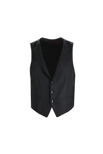 Erkek Giyim - Slim Fit Sivri Yaka Yelekli Smokin / Damatlık