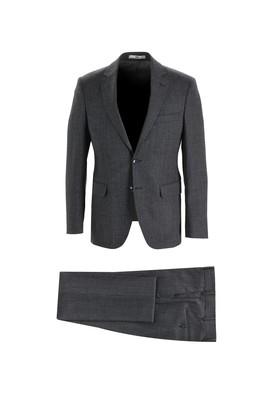 Erkek Giyim - SİYAH 46 Beden Slim Fit Yünlü Kuşgözü Takım Elbise