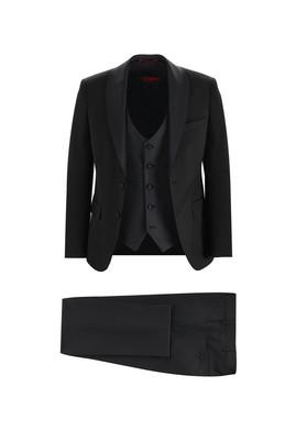 Erkek Giyim - SİYAH 46 Beden Slim Fit Şal Yaka Smokin & Damatlık