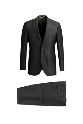 Erkek Giyim - KOYU KAHVE 52 Beden Klasik Kuşgözü Takım Elbise