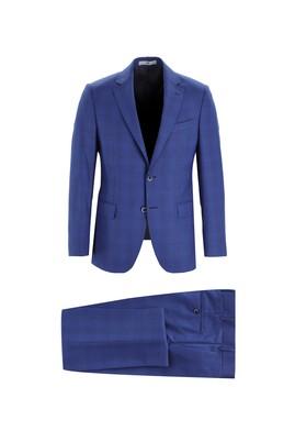 Erkek Giyim - MAVİ 50 Beden Slim Fit Yünlü Ekose Takım Elbise