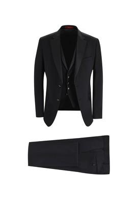 Erkek Giyim - SİYAH 46 Beden Slim Fit Mono Yaka Yelekli Smokin & Damatlık