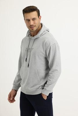 Erkek Giyim - AÇIK GRİ MELANJ L Beden Kapüşonlu Sweatshirt