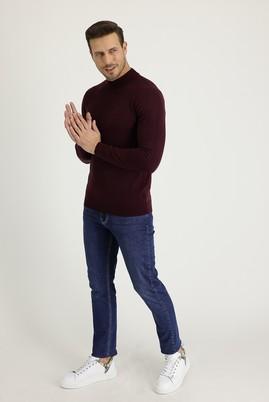 Erkek Giyim - ORTA LACİVERT 52 Beden Slim Fit Denim Pantolon