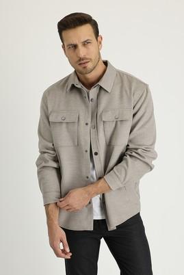 Erkek Giyim - AÇIK BEJ 46 Beden Shacket Gömlek / Mont