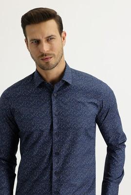 Erkek Giyim - KOYU LACİVERT S Beden Uzun Kol Slim Fit Baskılı Gömlek