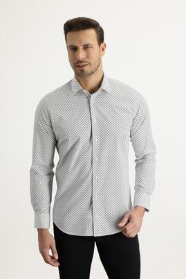 Erkek Giyim - SİYAH L Beden Uzun Kol Slim Fit Baskılı Gömlek