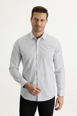 Erkek Giyim - KOYU LACİVERT M Beden Uzun Kol Slim Fit Baskılı Gömlek