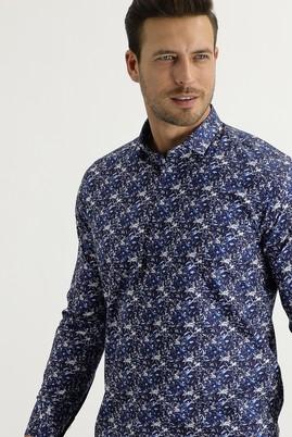 Erkek Giyim - LACİVERT XS Beden Uzun Kol Küçük Yaka Slim Fit Desenli Gömlek
