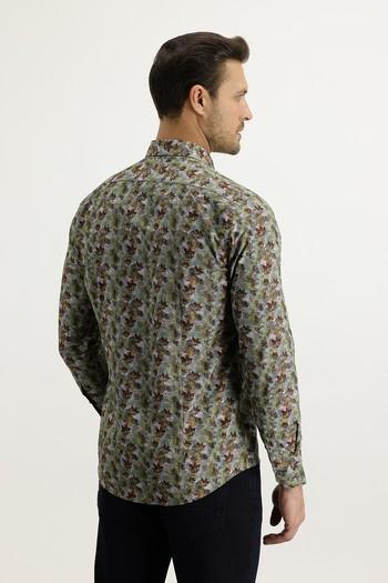 Erkek Giyim - Uzun Kol Yarım İtalyan Yaka Slim Fit Desenli Gömlek
