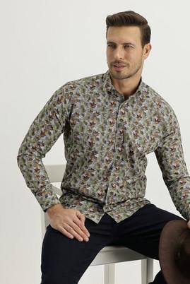 Erkek Giyim - Açık Yeşil XS Beden Uzun Kol Yarım İtalyan Yaka Slim Fit Desenli Gömlek